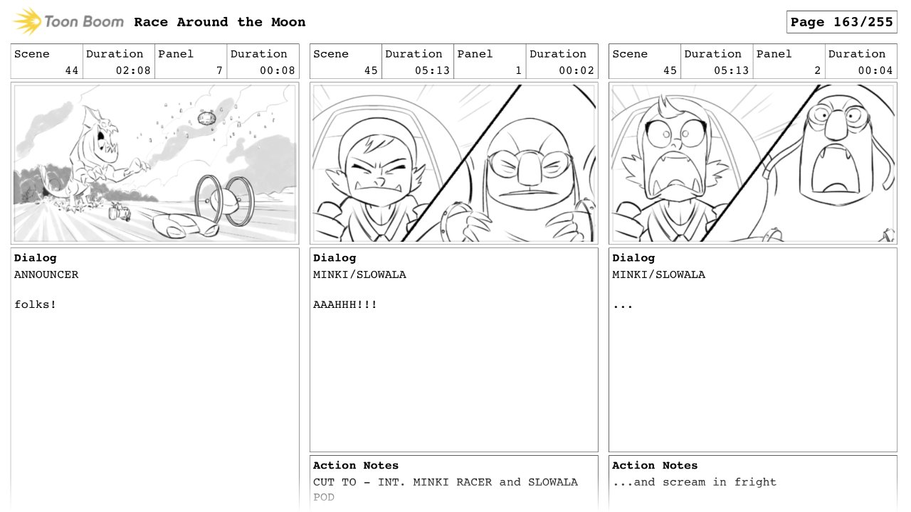 Race Around The Moon Animatic Panels