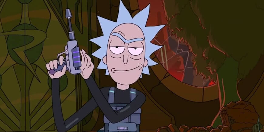 A still of Rick from Rick and Morty, produced in Toon Boom software.
