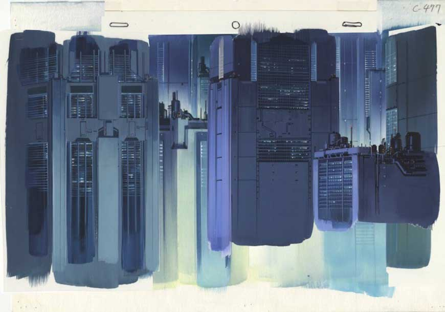 A painted background Ghost in the Shell.