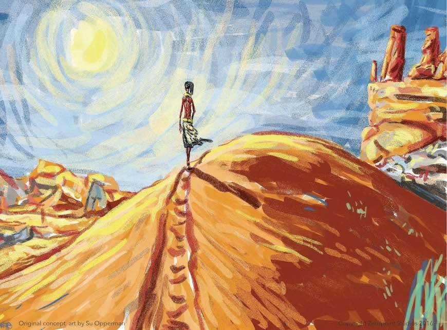 Mumue wanders through the desert.