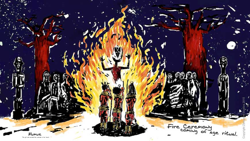The coming-of-age fire ceremony in Mumue.